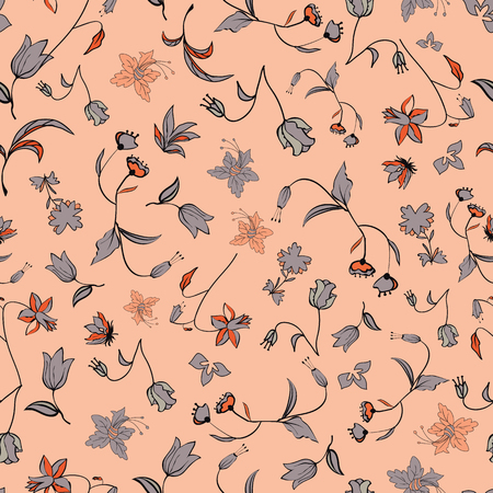 Vector illustration of stylized abstract florals in shades of orange, coral, smoky blue, peach and moss green. This stylish seamless repeat pattern is perfect for gift, cards, wallpaper, scrapbooking, fabric, interior, paper and art projects.