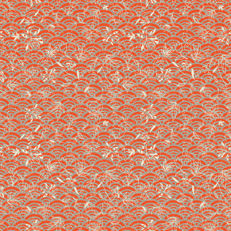 Vector illustration of orientalwaves layered with abstract florals in shades of orange, yellow and cream. This monochromatic, stylish seamless repeat pattern is perfect for gift, cards, wallpaper, scrapbooking, fabric, interior, paper and art projects. Illustration