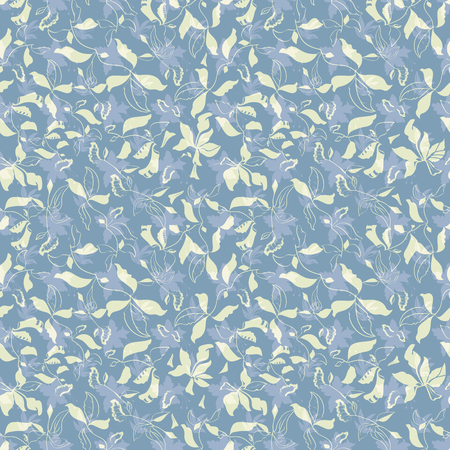 Vector Illustration of stylized, abstract botanical garden with layered plants and flowers in lilac, grey, smoky blue and moss green. For fabric, fashion design, accessories, gifts.