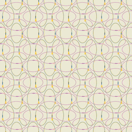 Seamless abstract retro geometric pattern with rows of zipper ovals and sliders in yellow, lilac, pink, purple and cream. Ideal for fashion, gift, paper, scrapbooking and fabric. Illustration