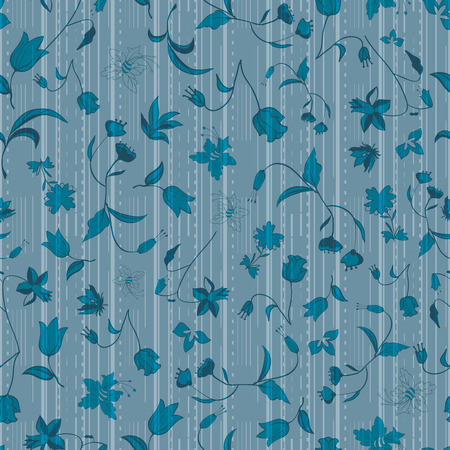Vector illustration of stylized asphalt roads and higways layered with abstract florals in shades of blue. This monochromatic , stylish seamless repeat pattern is perfect for gift, cards, wallpaper, scrapbooking, fabric, interior, paper and art projects. Stockfoto - 123917843