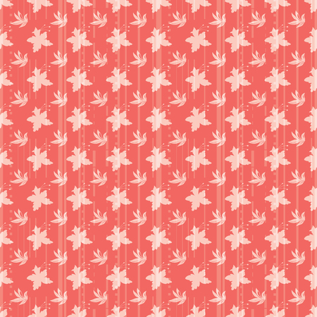 Vector Illustration of stylized, abstract leafy plants, daffodils and stripes in cream, coral and orange. For fabric, fashion design, accessories, gifts