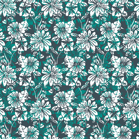 Floral seamless pattern. Vector illustration of abstract leaves, flowers, petunias and daisies in shades of green, white and black. Designed for fashion, fabric, home decor.