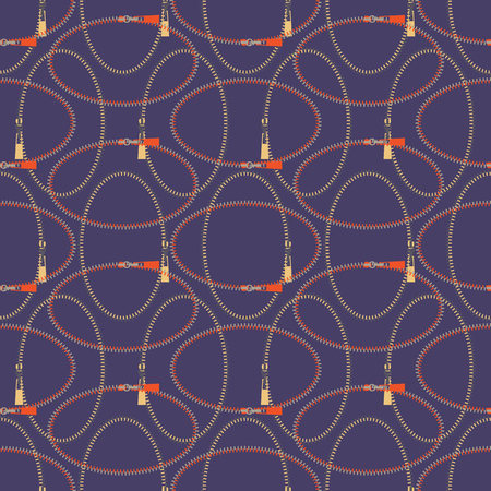 Seamless abstract retro geometric pattern with rows of zipper ovals and sliders in yellow, lilac, purple and orange. Ideal for fashion, gift, paper, scrapbooking and fabric.