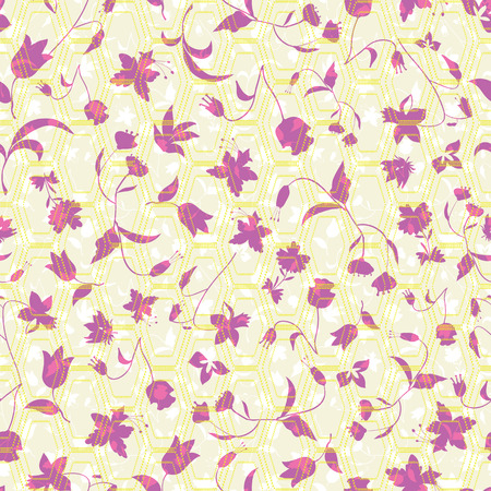 Vector illustration of stylized abstract florals layered with blended hexagons in lilac, yellow, purple, pink, cream and white. Seamless repeat pattern for gift, cards, scrapbooking, fabric, interior, paper and art projects. Ilustracja