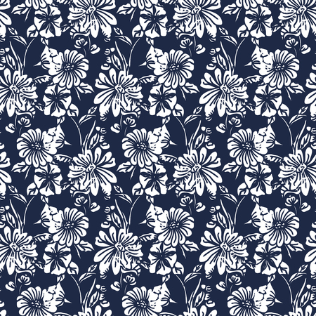 Floral seamless pattern. Vector illustration of abstract leaves, flowers, petunias and daisies in white and black. Designed for fashion, fabric, home decor.