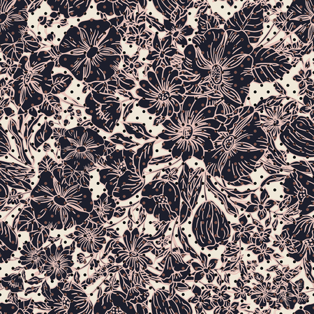 Floral seamless pattern. Vector illustration of abstract leaves, flowers, petunias, poppies and daisies in shades of pink, taupe, black and cream. Designed for fashion, fabric, home decor.