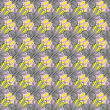 Seamless repeat pattern with intricate frog buttons in geometric layout. Vector illustration in shades of yellow, lilac, white and black.