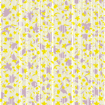 Vector illustration of stylized asphalt roads and higways layered with abstract florals in shades of yellow and lilac. Stylish seamless repeat pattern for gift, cards, wallpaper, scrapbooking, fabric, interior, paper and art projects.