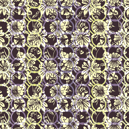 Floral seamless pattern. Vector illustration of linked chain circles, abstract leaves, flowers, petunias and daisies in white, yellow, lilac, purple and black. Designed for fashion, fabric, home decor. Illustration