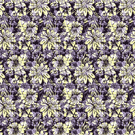 Floral seamless pattern. Vector illustration of abstract leaves, flowers, petunias and daisies in white, purple, lilac, yellow and black. Designed for fashion, fabric, home decor.