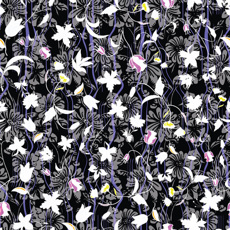Floral seamless pattern. Vector illustration of abstract leaves, flowers, petunias and daisies in white, pink, purple, yellow and black. Designed for fashion, fabric, home decor.