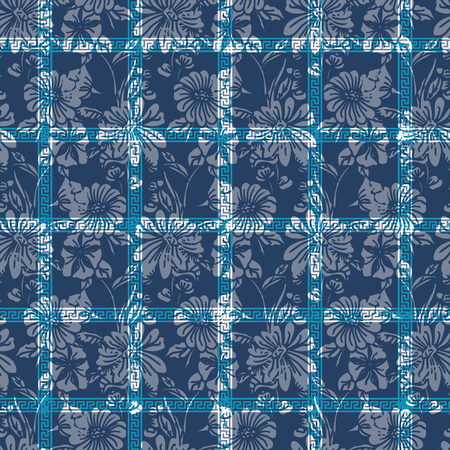Floral seamless pattern. Vector illustration of traditional ornaments, abstract leaves, flowers, petunias and daisies in white and blue. Designed for fashion, fabric, home decor.