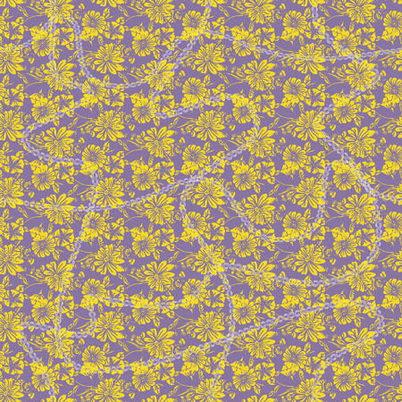 Floral seamless pattern. Vector illustration of linked chains, abstract leaves, flowers, petunias and daisies in white, yellow, lilac and purple. Designed for fashion, fabric, home decor. Illustration