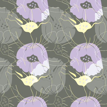 Vector illustration of stylized airy, abstract poppies in lilac, yellow and grey. Seamless repeat pattern, tiled artwork. Perfect for gift, wallpaper, scrapbooking