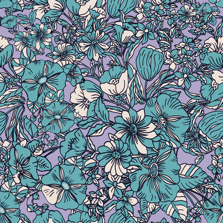 Floral seamless pattern. Vector illustration of abstract leaves, flowers, petunias and daisies in green, lilac and cream. Designed for fashion, fabric, home decor. Ilustracja
