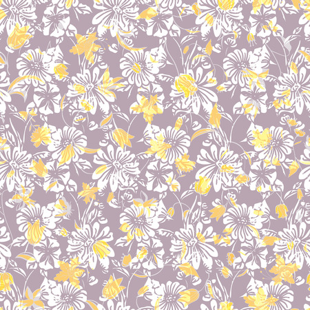 Floral seamless pattern. Vector illustration of abstract leaves, flowers, petunias and daisies in lilac and yellow. Designed for fashion, fabric, home decor. Ilustracja
