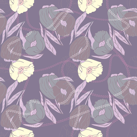 Vector illustration of stylized abstract poppies and tulips with multicoloured leaves. Seamless repeat pattern, tiled artwork. Perfect for gift, wallpaper, scrapbooking