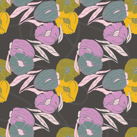 Vector illustration of stylized abstract lilac, yellow and pink poppies and tulips. Seamless repeat pattern, tiled artwork. Perfect for gift, wallpaper, scrapbooking