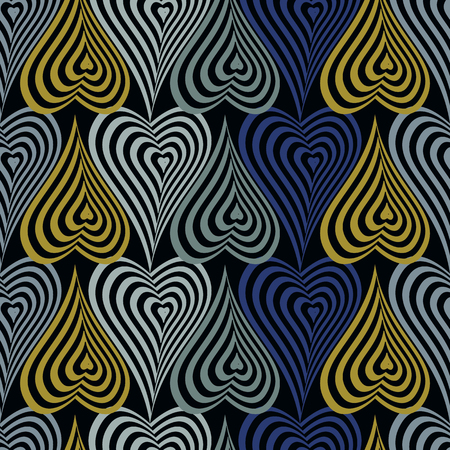 Abstract vector seamless op art pattern with stylized hearts. Graphic yellow, neon, black and indigo ornaments. Striped optical illusion repeating texture.