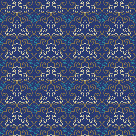 Abstract geometric seamless pattern with stylized ornaments. Vector illustration in yellow, indigo and olive. Imagens