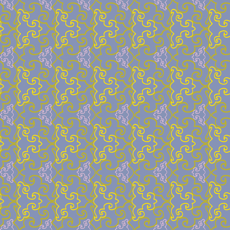 Abstract geometric seamless pattern with stylized ornaments. Vector illustration in yellow, lilac and olive. Ilustração