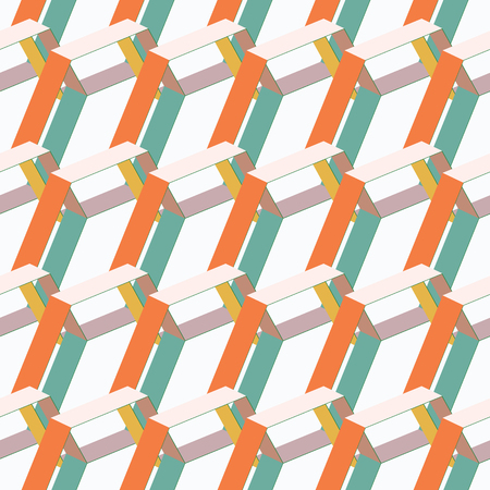 ABSTRACT 3D BACKGROUND WITH ISOMETRIC HEXAGONS IN RETRO COLORS. VECTOR SEAMLESS PATTERN DESIGN.