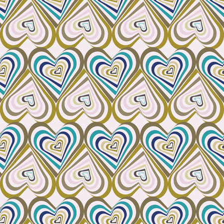 Abstract vector seamless op art pattern with stylized hearts. Graphic olive, sage, teal, pink and purple ornaments. Striped optical illusion repeating texture.