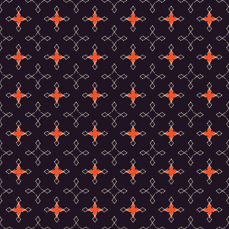Seamless abstract retro geometric pattern. Illustration in orange, black and cream. Ideal for fashion, gift, paper, scrapbooking and fabric.