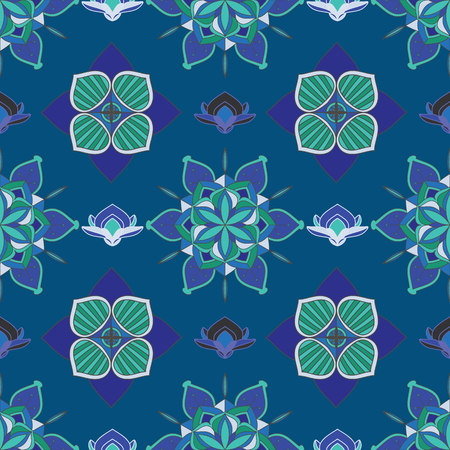 SEAMLESS COLORED ORNATE PATTERN WITH MANDALA ELEMENTS. MANDALA TEXTURE. VECTOR TEMPLATE FOR FABRIC, WALLPAPER, TILE, WRAPPING, COVERS AND CARPETS.