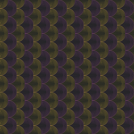 Vector illustration of yellow, black and lilac warped semi circles in geometric layout. Seamless repeat pattern for gift wrap, textile, fabric, scrapbooking and fashion.