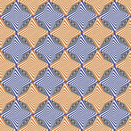 Vector illustration of orange, indigo, black and white warped rhombuses and stars in checkered geometric layout. Seamless repeat pattern for gift wrap, textile, fabric, scrapbooking and fashion.