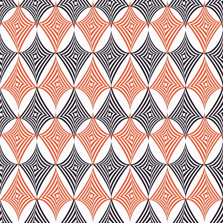 Vector illustration of orange, black and white warped rhombuses and circles in checkered geometric layout. Seamless repeat pattern for gift wrap, textile, fabric, scrapbooking and fashion.