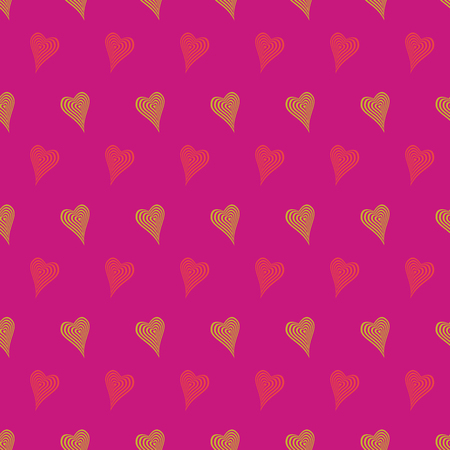 Abstract vector seamless pattern with stylized hearts. Graphic red, yellow and orange ornaments. Stock Illustratie