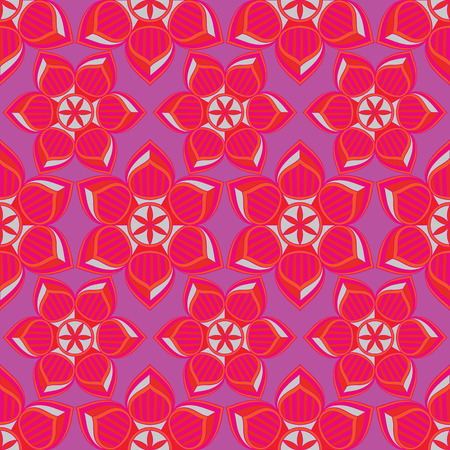 Paper cut art vector illustration with bright flowers. Seamless repeat pattern with graphic pink, lilac and purple ornaments.
