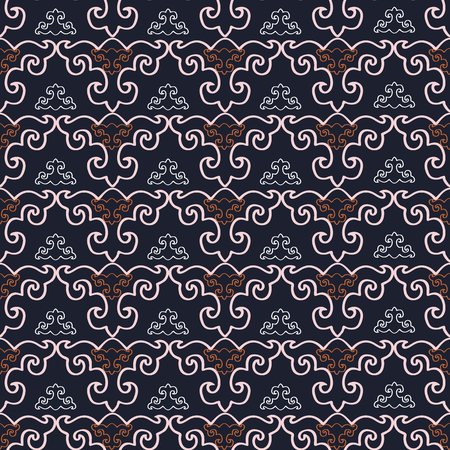 Abstract geometric seamless pattern with stylized ornaments. Vector illustration in orange, pink, white and black.