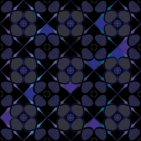 SEAMLESS ORNATE PATTERN WITH MANDALA ELEMENTS IN SHADES OF INDIGO, AQUA, PURPLE, BLACK AND GREEN. MANDALA TEXTURE. VECTOR TEMPLATE FOR FABRIC, WALLPAPER, TILE, WRAPPING, COVERS AND CARPETS.
