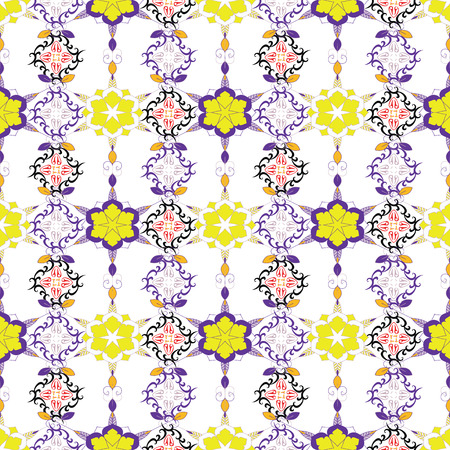 SEAMLESS COLORED ORNATE PATTERN WITH BRIGHT FLORAL ELEMENTS. MANDALA TEXTURE. VECTOR TEMPLATE FOR FABRIC, WALLPAPER, TILE, WRAPPING, COVERS AND CARPETS.