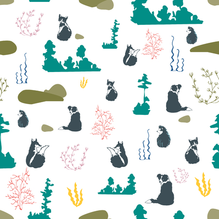Seamless illustration of forest, rocks, trees and animals. Vector pattern in green, olive, lilac, yellow in white.