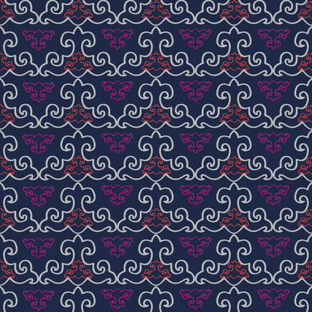 Abstract geometric seamless pattern with stylized ornaments. Vector illustration in orange, pink, white and indigo.
