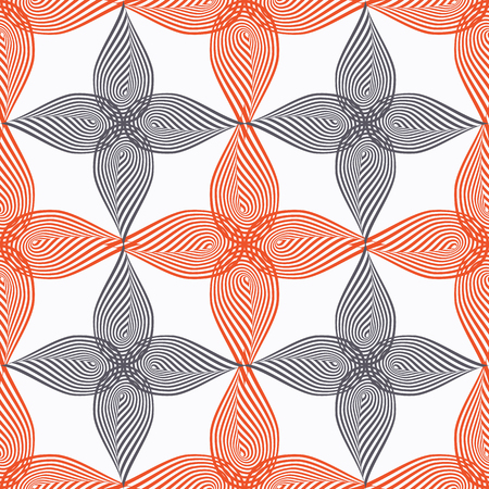 Abstract vector seamless pattern with stylized leaves. Graphic orange, black and white ornaments. Ilustração