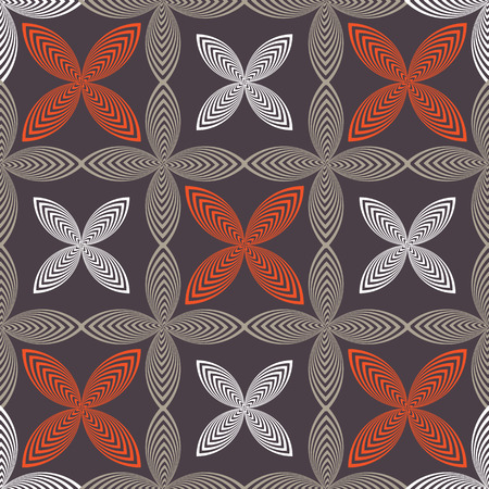 Abstract vector seamless pattern with stylized leaves and flowers. Graphic orange, grey, black and white ornaments. Imagens