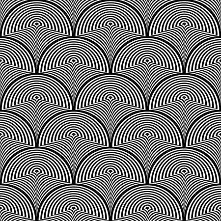 Vector illustration of white and black warped semi circles in geometric layout. Seamless repeat pattern for gift wrap, textile, fabric, scrapbooking and fashion.