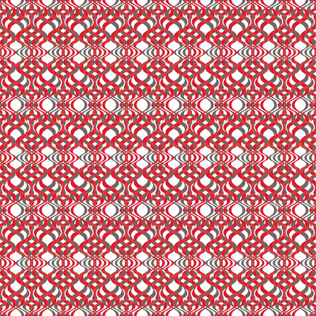 Vector illustration of red, olive and white warped rhombuses, lines and circles in checkered geometric layout. Seamless repeat pattern for gift wrap, textile, fabric, scrapbooking and fashion. 向量圖像