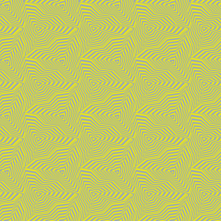 Abstract vector seamless op art pattern with warped triangles and stripes. Graphic ornament in lilac and yellow. Striped optical illusion repeating texture.
