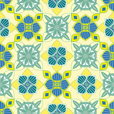 SEAMLESS ORNATE PATTERN WITH MANDALA ELEMENTS IN SHADES OF YELLOW, INDIGO, WHITE, BLUE AND GREEN. MANDALA TEXTURE. VECTOR TEMPLATE FOR FABRIC, WALLPAPER, TILE, WRAPPING, COVERS AND CARPETS.