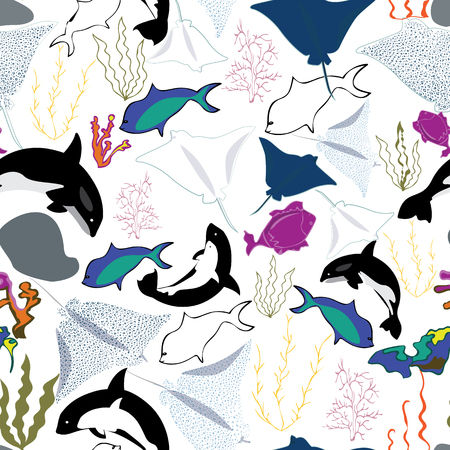 Illustration of underwater corals, whales, rocks, stingray, fish and seaweeds in aqua, purple, indigo, yellow, white, orange and turquoise. Seamless vector pattern for gifts, fabric and scrapbooking.