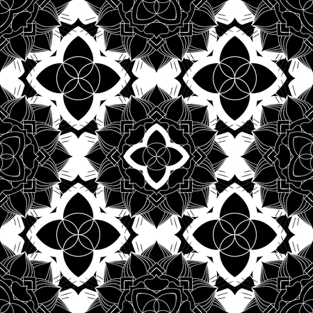 SEAMLESS ORNATE PATTERN WITH MANDALA ELEMENTS IN BLACK AND WHITE. MANDALA TEXTURE. VECTOR TEMPLATE FOR FABRIC, WALLPAPER, TILE, WRAPPING, COVERS AND CARPETS.