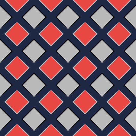 MODERN ABSTRACT GEOMETRIC VECTOR SEAMLESS PATTERN. BACKGROUND WALLPAPER ILLUSTRATION WITH DIAGONAL RECTANGLES, RHOMBUSES AND LINES. Banco de Imagens - 124939291