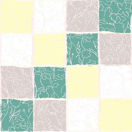 GRUNGE CHECKERED SEAMLESS PATTERN. VECTOR BACKGROUND WITH UNEVEN CALLIGRAPHIC LINES AND ABSTRACT FLORALS IN PASTEL TONES.